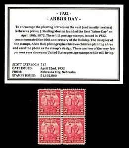 1932-ARBOR-DAY-717-Vintage-Mint-Never-Hinged-Block-of-Postage-Stamps