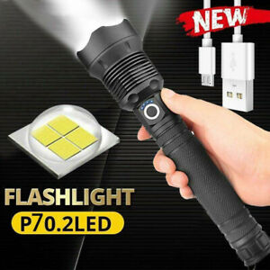 Tactical LED USB Rechargeable Super Bright 26650 Zoomable Torch Flashlight