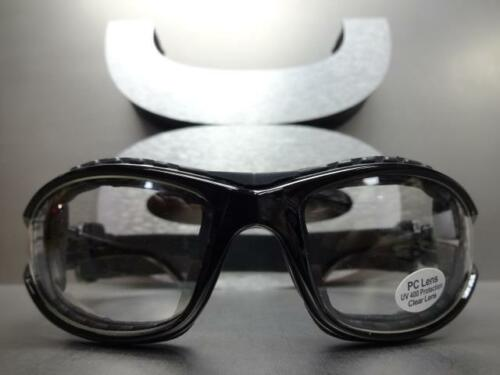 Men/'s MOTORCYCLE BIKER Padded RIDING SUN GLASSES GOGGLES Black Frame with Strap
