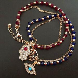 Femmes mode bijoux charme Hamsa main Lucky Evil Bracelet Perles oeil