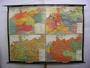 Wandkarte-Deutsche-Landschaft-u-Kultur-1938-Reich-215x160cm-Wehrmacht-Lehrmittel