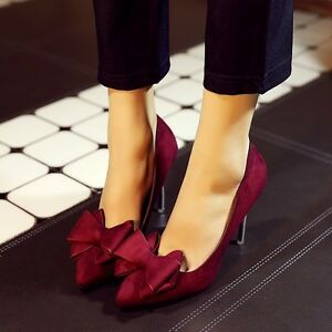 Women-Fashion-Pumps-High-Heels-Bow-Tie-Shoes-Sexy-Suede-Pointed-Toe-Party-Shoes