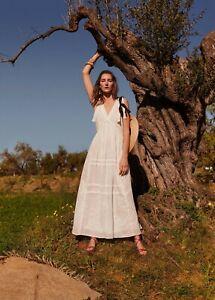 Mango White Long Maxi Embroidered Dress Maxikleid Langes Kleid Stickerei S M L Ebay