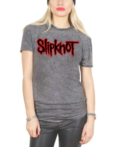 Slipknot camiseta clásica banda logotipo nuevo oficial mujer gris carbón queme
