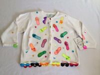 Design Options Philip Jane Gordon M White Embellished Flip Flops Sweater