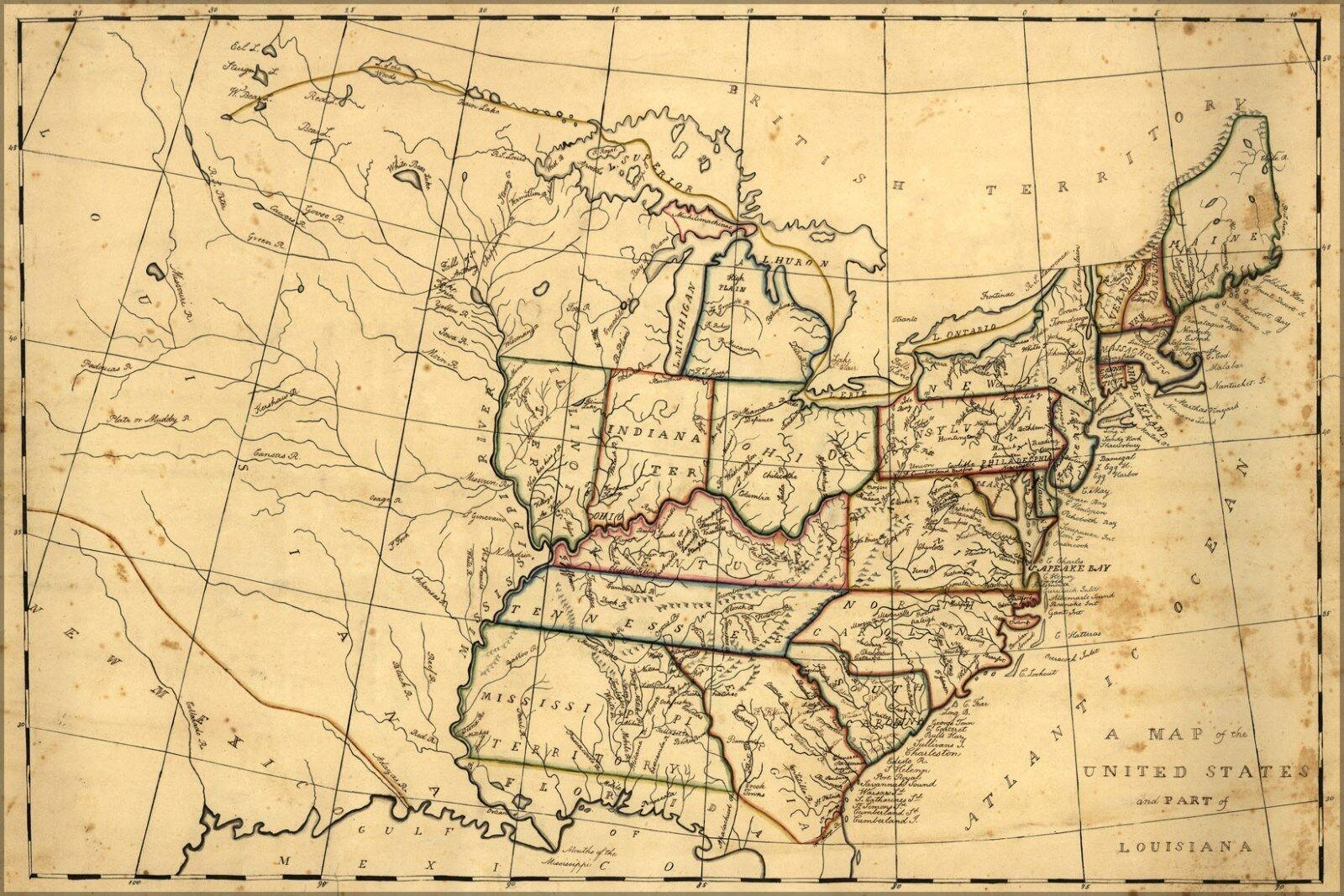 Plakat, Viele Größen; Landkarte der Vereinigte Staaten 1830