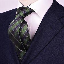 "Green Jacquard Check Designer Tie Classy Business Striped Fashion 3"" Necktie B2B"