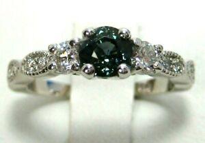 Green-Sapphire-Ring-18K-white-gold-Filigree-Rare-VS-GIA-Natural-Heirloom-5-45
