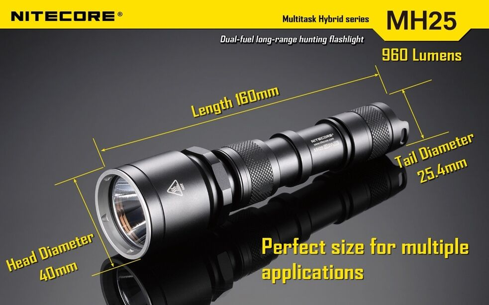Nitecore MH25 Rechargeable Flashlight /w and USB Charger and /w Wall Adaptor cedcf1