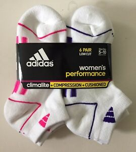 Adidas Women's White Low Cut Socks Cushioned 6 Pairs Size 5-10 NEW LAST ONES!