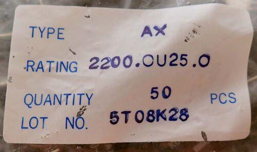 LOT of 50 ITT 2200.0U25.0 ELECTROLYTIC CAPACITOR AXIAL 2200uF 25V NOS