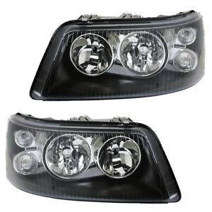 Depo-Doppellinsen-Scheinwerfer-Klarglas-fuer-VW-T5-Bus-Bj-03-09-Schwarz