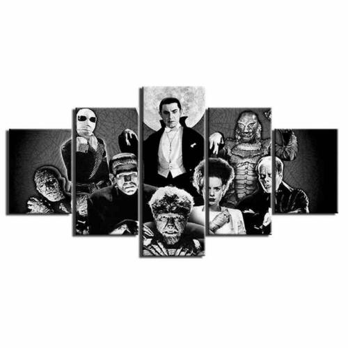 Print Framed Canvas Thriller Horror Character 5 Pieces Wall Art Décor