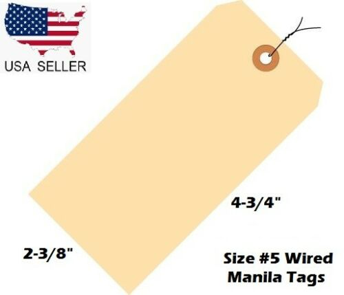 "Pack of 100 Size 5 Manila Inventory Shipping Hang Tags with Wire 4 3//4/"" x 2 3//8/"""