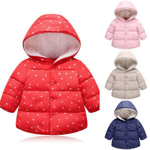 7ba4d046721a4 Kids Girls Boys Padded Hooded Jacket Baby Winter Coat Cotton Casual ...