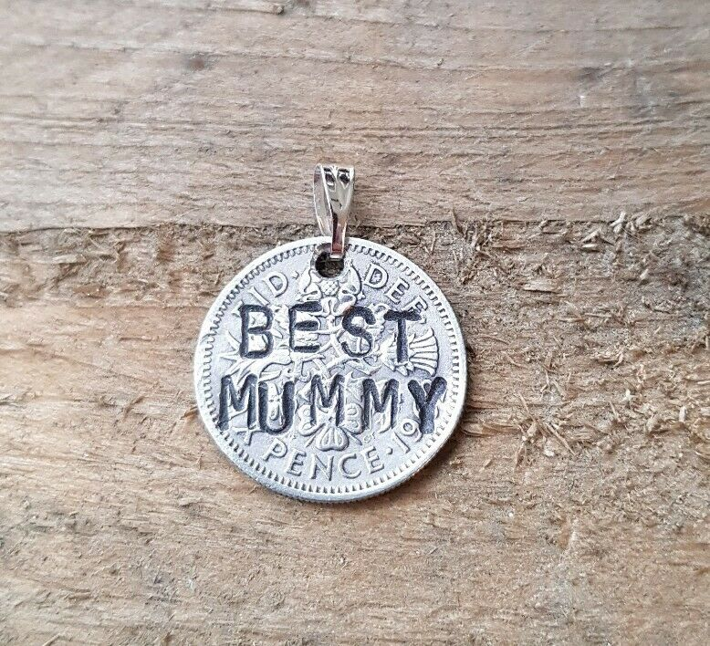 """best Mummy"" Stamped Vintage Lucky Sixpence Pendant Charm Mothers Day Jewellery"
