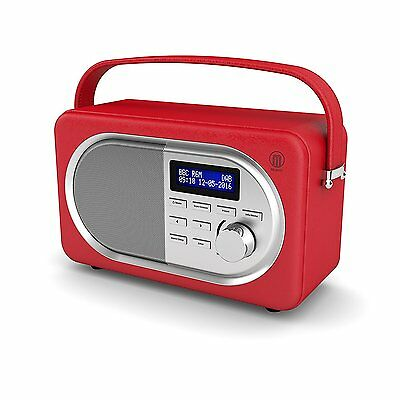 Shelford Compact Portable Digital DAB FM Radio Leather Effect Finish Red