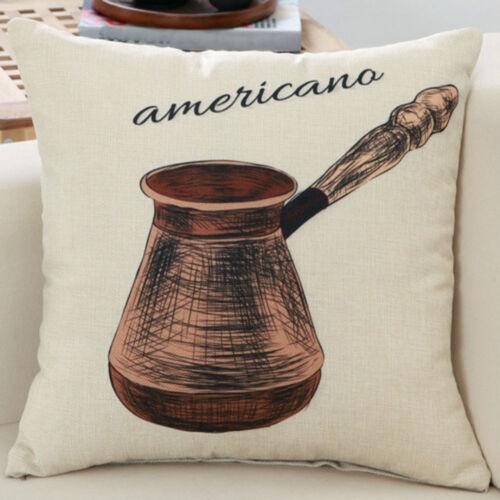 Classic Coffee Equipment Pattern Pillow Case Cushion Cover Home Sofa Décor FN249