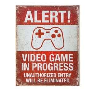 ALERT-VIDEO-GAME-Metal-Sign-Distressed-Kids-Room-Gaming-Home-Bedroom-Wall-decor