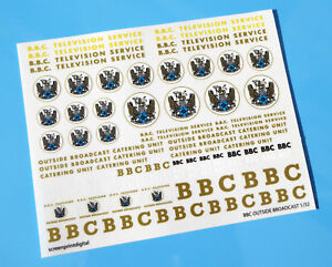 BBC OUTSIDE BROADCAST VEHICLE SLOT CAR 32nd SCALE Decals Stickers SCALEXTRIC