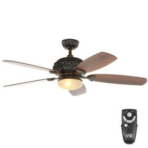 Hampton Bay 52 In Indoor Caffe Patina Ceiling Fan With
