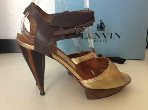 Peep Rulp £ Toe in 39 Size scatola Uk Shoes Gc 6 Heels Gold Sandali Lanvin 505 zqtBwH