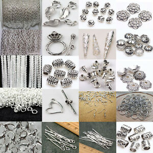 Lots-Silver-Plated-Chains-Earring-Hook-Pin-Jump-Rings-Lobster-Clasp-DIY-Jewelry