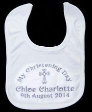 PERSONALISED CHRISTENING BABY BIB NAME AND DATE new baby girl boy gift unisex