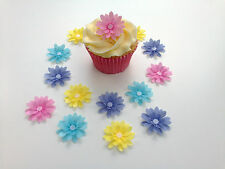 14 Edible Pastel Shades 3D Flowers Pre Cut Wafer Cupcake Toppers