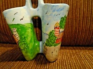 Vintage Mid Century Modern Pottery Planter Holder Hand painted Double Vase