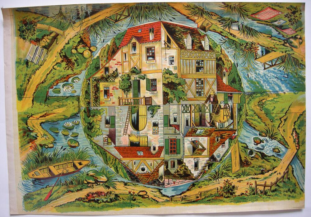 Spielplan Bauernhof Orig Chromolithogr 1890 Gesellschaftsspiel Laufspiel