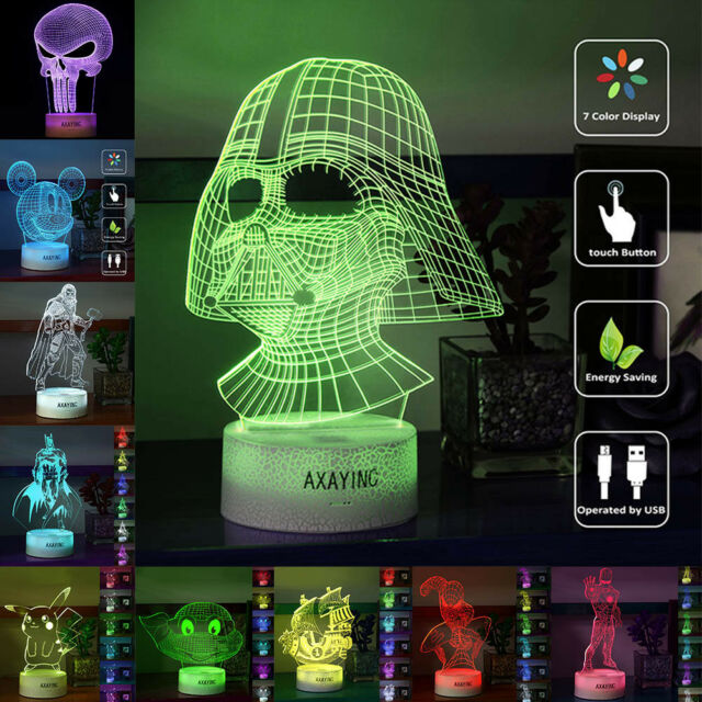 Super hero 3D Acrylic LED Night Light 7 Color Table Desk Touch Swift Lamp Gifts