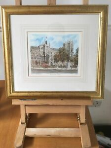 Vintage-Limited-Edition-Lithograph-Print-signed-Westminster-Abbey-Framed
