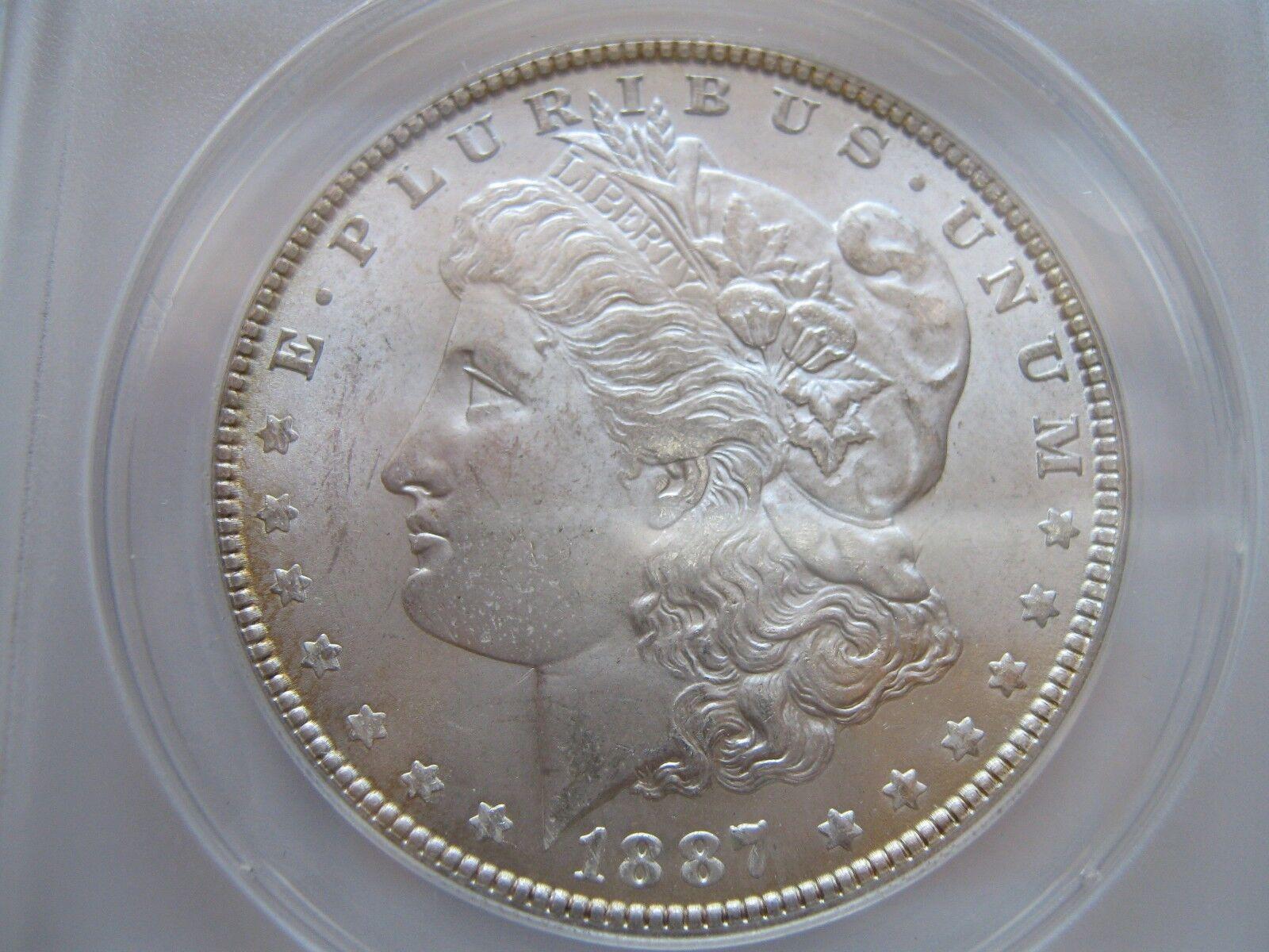 1887 , Morgan Dollar , Anacs , MS 63 , Rim Toning