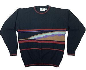London-Fog-Vintage-Herren-Pullover-Bill-Cosby-COOGI-Style-gestreift-Acryl-Wolle-SZ-M-USA