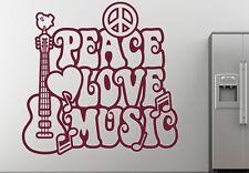 Peace Love Musik Music Flower Power Wandtattoo Wallpaper Wand Schmuck 57 x 57