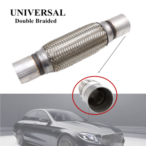 """Heavy Duty Exhaust Flex Pipe Stainless Steel Double Braided 12.2/"""" 5.91/"""" 1.77/"""""""