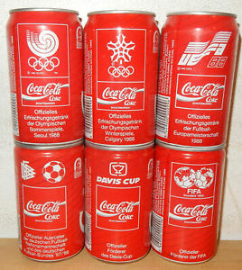 COCA-COLA-1988-6-cans-SPORTS-set-from-GERMANY-33cl