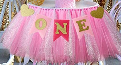 NEW Tulle Tutu Table Skirts Banner Pink for Baby Birthday High Chair Decoration