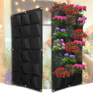 Black-Wall-Garden-Balcony-Planting-Bags-18-Pockets-Pot-Hanging-Planter-Indoor
