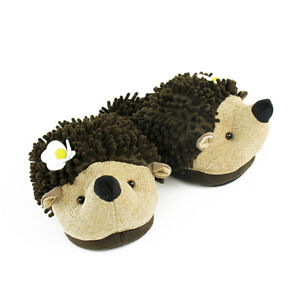 bcaba79f5f9 Image is loading Hedgehog-Slippers-Brown-Aroma-Home-Fuzzy-Friends-Slippers