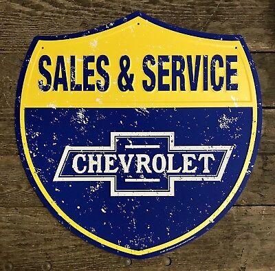 "23"" x 23"" CORVETTE Highway Chevrolet Embossed Tin Metal Shield Sign"