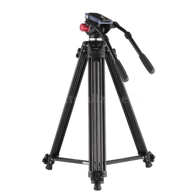 Andoer Professional Aluminum Alloy Video Camera Tripod with Dual Handled D6G7