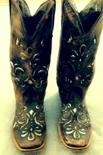 womens fancy roper cowgirl boots size 9 brown and
