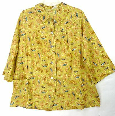 Vintage 60s Gold Paisley Print Maternity Smock Blouse w/Pockets! XL 1X