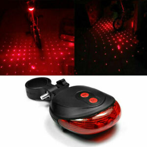 5-LED-2-Laser-Rouge-Lumiere-Lampe-Velo-Bicyclette-VTT-Feux-Eclairage-Arriere