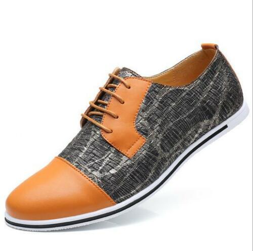 Men/'s Casual Low Top Trend Colorful Lace Up Leather Pointed Toe Soft Flat Shoes