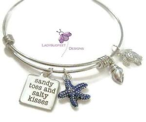 Beach-SANDY-Toes-and-SALTY-Kisses-Adjustable-Wire-charm-bangle