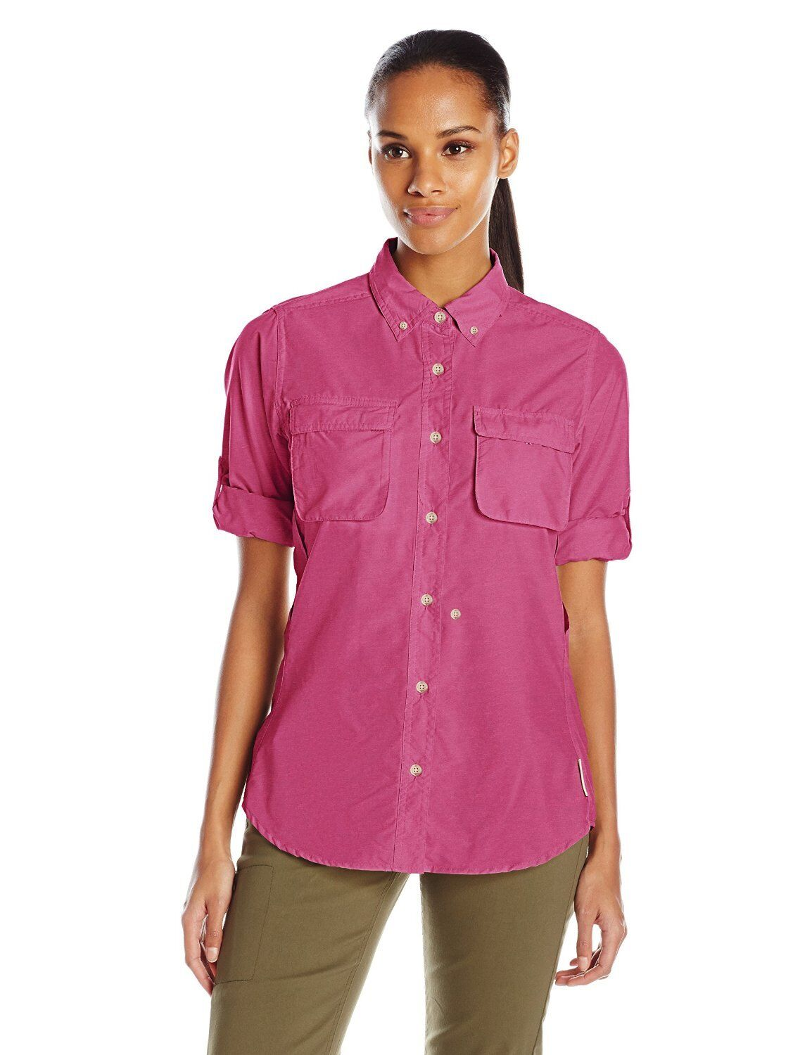 50% OFF  NEW WOMEN'S EXOFFICIO AIR STRIP LONG SLEEVE SHIRT, SMALL, MULBERRY.