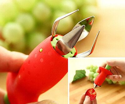 HOT Strawberry Berry Stem Gem Leaves Huller Remover Fruit Corer Kitchen Tool NEW